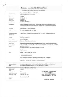 Zpráva o revizi elektrického zařízení