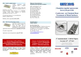 Call for papers - Chemicko tepelné zpracování kovových povrchů