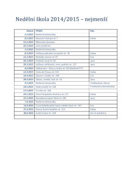 Rozpis nedělní školy
