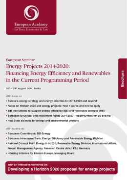 Energy Projects 2014-2020: Financing Energy Efficiency and