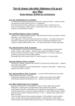 Návrh témat seminárních prací pro 3
