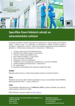 VUZM Specifika řízení lidských zdrojů ve zdravotnickém zařízení