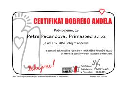 Petra Pacandova, Primasped s.r.o.