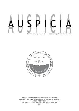 Recenzovaný časopis pro otázky společenských věd Auspicia 2007/1