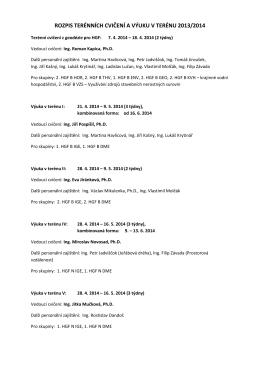 rozpis terénních cvičení a výuku v terénu 2013/2014