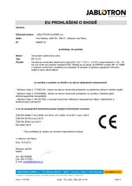EU PROHLÁŠENÍ O SHODĚ - Jablotron alarms a.s.