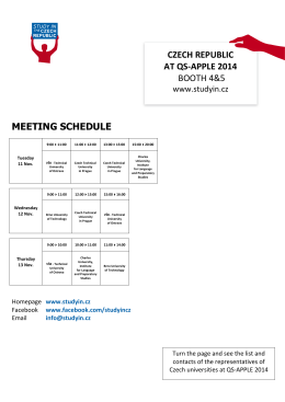 czech republic at qs-apple 2014 booth 4&5 meeting schedule