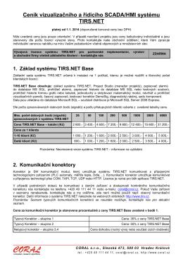 Ceník vizualizačního a řídicího SCADA/HMI systému TIRS