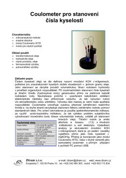 Coulometer pro stanovení čísla kyselosti