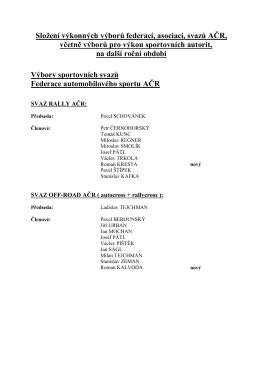 Složení výkonných výborů federací, asociací, svazů AČR, včetně