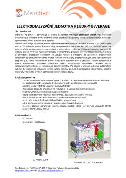 Jednotka elektrodialýzy k zajištění vinanové stabilizace