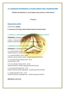 17. symposium PS Chlopenní a vrozené srdeční vady v dospělosti