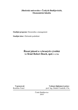 Řízení jakosti u vybraných výrobků ve firmě Robert Bosch