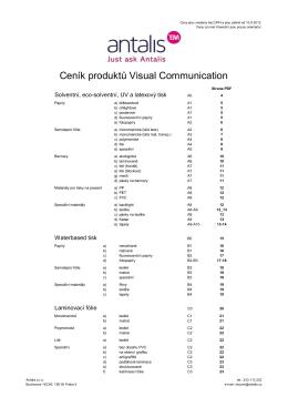 Ceník produktů Visual Communication