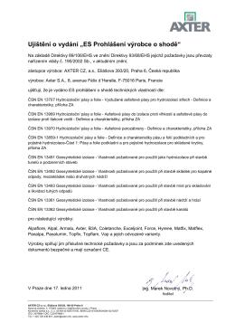 """Ujištění o vydání """"ES Prohlášení výrobce o shodě"""""""