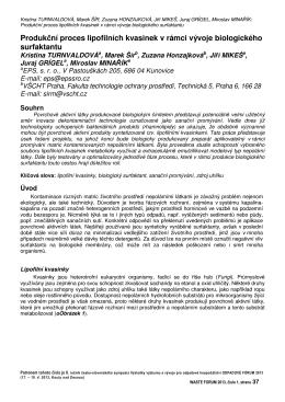 Produkční proces lipofilních kvasinek v rámci vývoje biologického