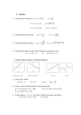 4 Funkce Lineární funkce, přímá a nepřímá úměrnost