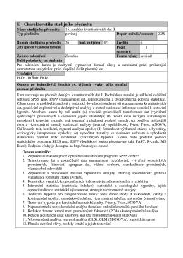 Sylabus AKD II. - Analýza kvantitativních dat