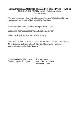 Základní škola a Mateřská škola Zdiby, okres Praha – východ