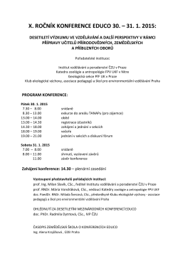 x. ročník konference educo 30. – 31. 1. 2015