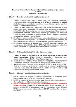 Směrnice Ústavu letecké dopravy k bakalářským a diplomovým