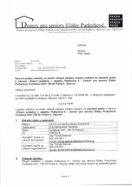 technická zpráva - Domov pro seniory Elišky Purkyňové