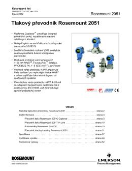 Tlakový převodník Rosemount 2051