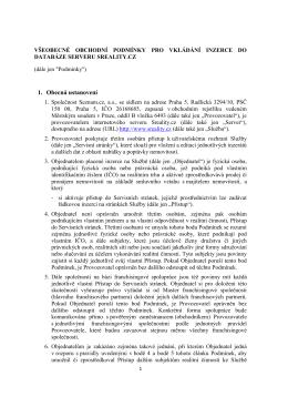 Všeobecné Obchodní Podmínky Pro Vkládání Inzerce Do Databáze