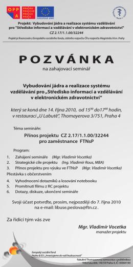 POZVÁNKA - Fakultní Thomayerova nemocnice