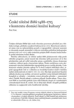 České tištěné Bible 1488–1715 v kontextu domácí knižní