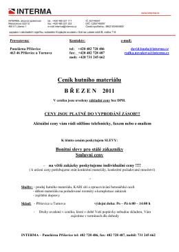 Ceník hutního materiálu B Ř EZEN 2011