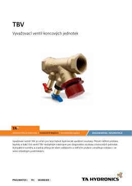 Vyvažovací ventily Vyvažovací ventil koncových jednotek