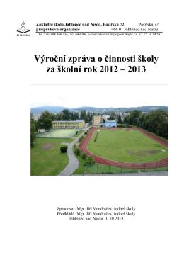 Výroční zpráva o činnosti školy za školní rok 2012/2013