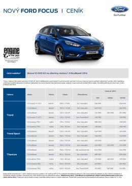 Ceník nového Fordu Focus