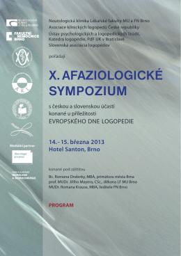 X. AFAZIOLOGICKÉ SYMPOZIUM