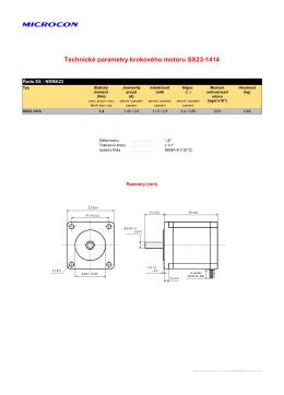 Technické parametry krokového motoru SX23