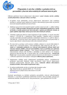 Doporučení SKPZ k návrhu vyhlášky na personální vybavení ZZ