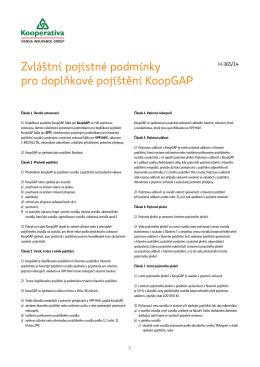 Zvláštní pojistné podmínky pro doplňkové pojištění