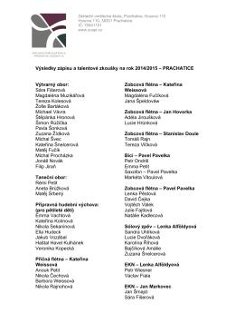 Výsledky zápisu a talentové zkoušky na rok 2014/2015