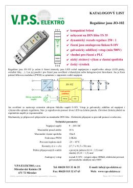 KATALOGOVÝ LIST Regulátor jasu JO-102