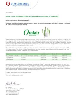 Oralair® - první sublingvální tableta pro alergenovou
