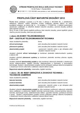 profilová část maturitní zkoušky 2012