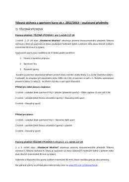 Tělesná výchova a sportovní kurzy ak.r. 2012/2013