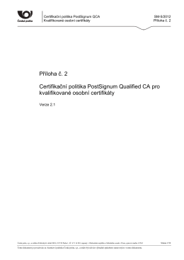 Příloha č - PostSignum QCA