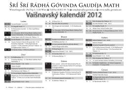 Vaišnavský kalendář 2012
