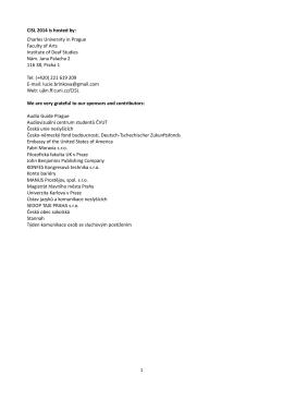 CISL 2014 is hosted by - Ústav jazyků a komunikace neslyšících