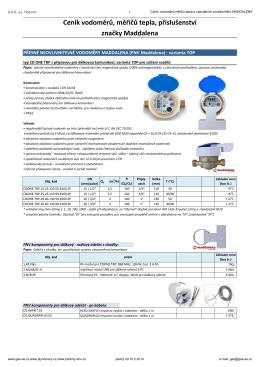 Ceník vodoměrů,měřičů tepla a speciálních průtokoměrů