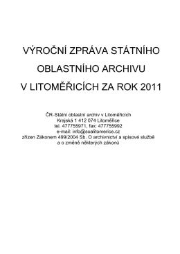 Výroční zpráva 2011 podle zákona č. 499/2004 Sb.