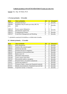 Vedlejší specializace FINANČNÍ INŽENÝRSTVÍ (nelze pro obor FG