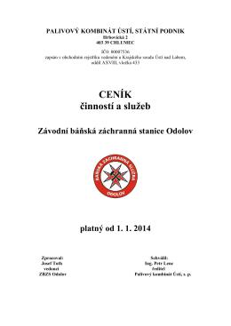 CENÍK činností a služeb - Báňská záchranná služba Odolov